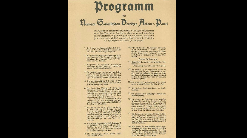 25 point programme Programme of the nsdap, 24 february 1920 the 25 points of the nsdap program were composed by adolf hitler and anton drexler they were publically presented on 24 february 1920 to a crowd of almost two thousand and every single point was accepted amid jubilant approval (mein kampf, volume ii, chapter i) hitler explained their purpose in the.